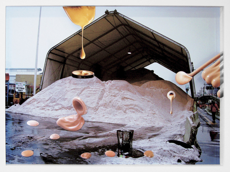 Teppei Kaneuji Sea and Pus (Photograph of Sand Pit), 2006; Chromogenic Print, collage of printed material on acrylic; 29 x 43 x 3 cm; enquire