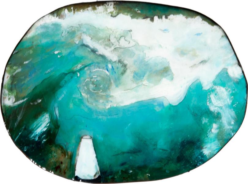 Hossein Ghaemi getting domestic IIII, 2009; liquid glass, paper, boxboard, gouache, pencil, chalkboard paint; 22 x 30 cm; enquire