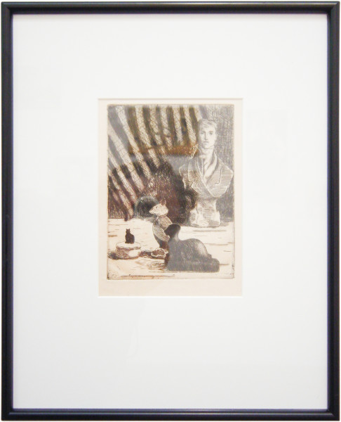 Linda Marrinon Still life with De Tocqueville bust, 2003; drypoint etching; 39.7 x 32.2 cm; (framed), non-editioned; enquire