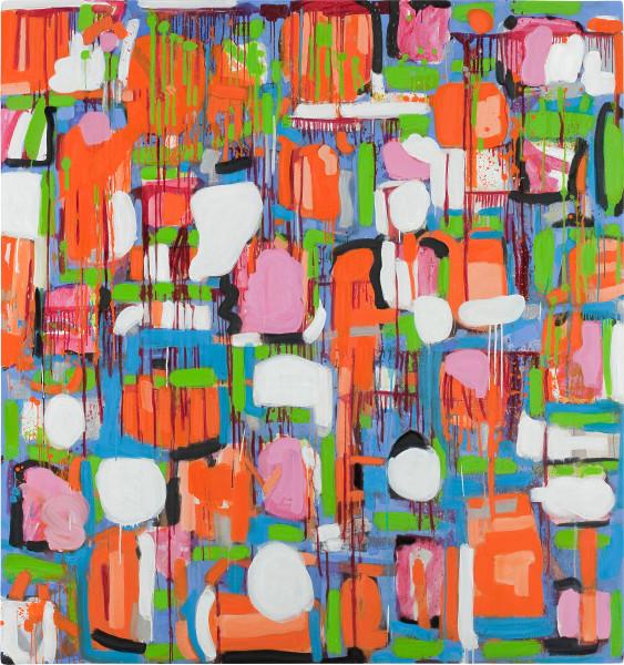 Angela Brennan Untitled (Orange, White, Silver & Blue), 2009; oil on linen; 180.5 x 175 cm; enquire