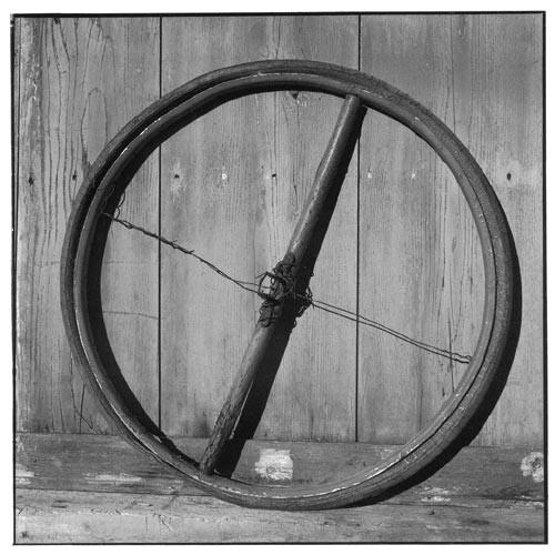 Bill Culbert Bike wheel, wood, wire, cross, 2002; Edition of 25; enquire