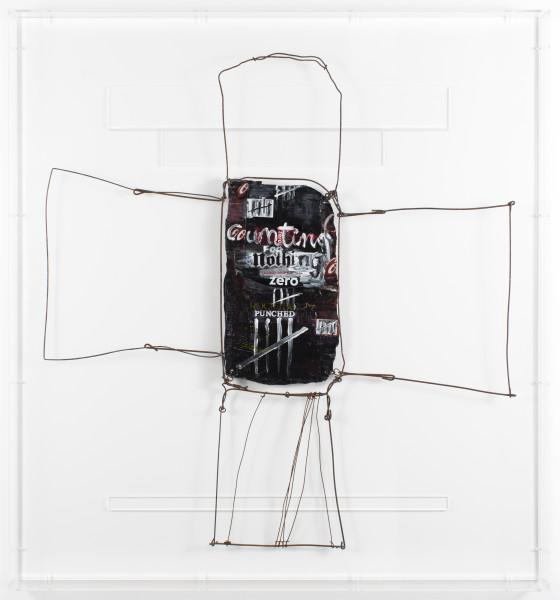 Fiona Hall zero sum, 2017; aluminum can, tin, wire, paint; 84 x 88.5 x 7 cm; enquire