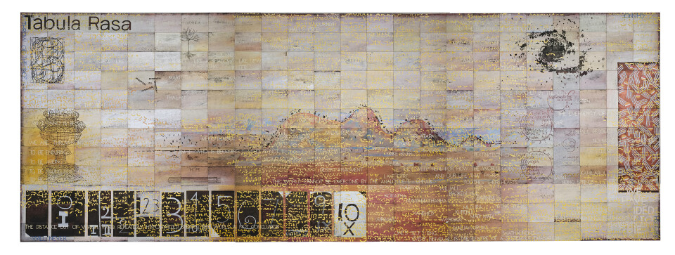Imants Tillers Tabula Rasa (For My Father), 2011; acrylic, gouache on 288 canvasboards nos. 87889-88176; 302.4 x 849.6 cm; enquire