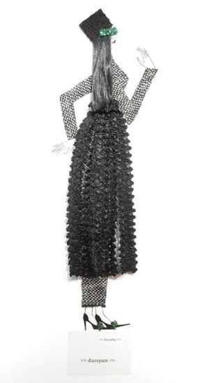 Jacqueline Fraser   , 2004; Nylon hair, faux fur, Italian wool suiting, vylene stiffening, black ruffle lace, sequin taffeta; 175 x 65 x 15 cm; enquire
