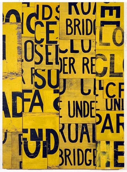 Rosalie Gascoigne News Break, 1994; retro-reflective roadsign on craftboard; 130 x 95 cm; enquire