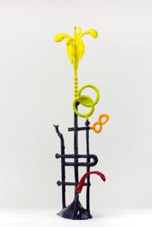 Caroline Rothwell Biomorph sulphur daisy, 2018; Hydrostone, canvas, thread, epoxy glass, stainless steel, vinyl paint, wood; 156 x 55 x 30 cm; enquire
