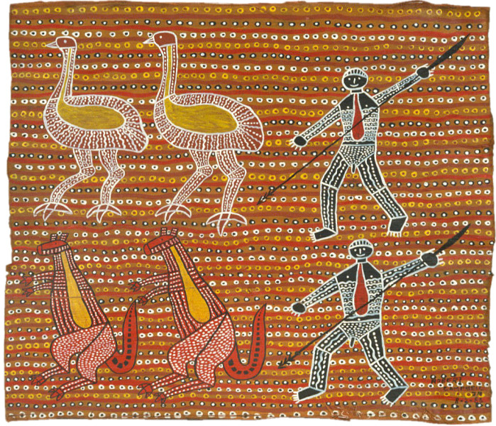 Robert Campbell Jnr Spearing the Emu and the Kangaroo DUPLICATE ???, 1987; acrylic on canvas; 91 x 120 cm; enquire