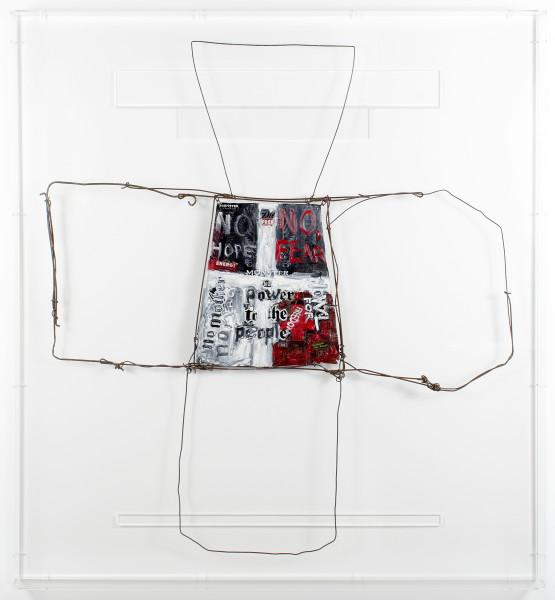 Fiona Hall zero sum, 2017; aluminum can, tin, wire, paint; 104.5 x 96.5 x 7 cm; enquire