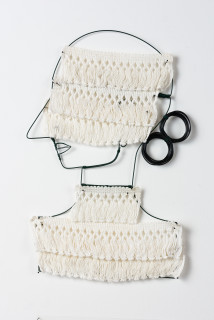 Jacqueline Fraser A muffled portrait prolonged >, (detail), 2003; from the series AN ELEGANT PORTRAIT REFINED IN ELEVEN STUDIOUS PARTS >; wire, French braid from La Pigalle, Paris; 85 x 35 cm; enquire