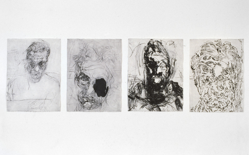 Mike Parr 4 of 6 Untitled Self Portraits, 1989; drypoint on 350gsm Hahnemule rag paper; enquire