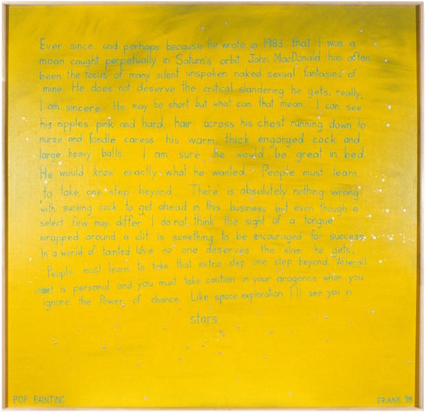 Dale Frank John MacDonald does not deserve the slam he gets, 1998; acrylic and aluminium on linen; 175 x 179 cm; enquire