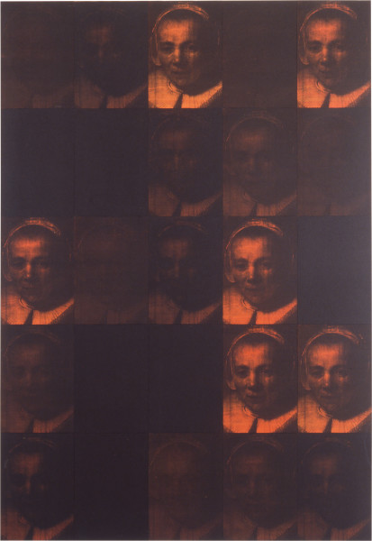 Lindy Lee Utmost Causation, 1993; photocopy and acrylic on Stonehenge paper; 187.5 x 130 cm; 25 panels; enquire
