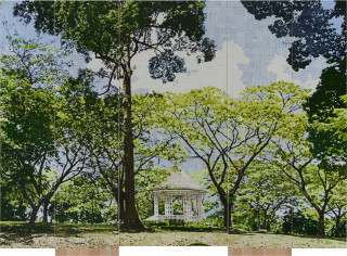 Gary Carsley D.120 Botanical Gardens Singapore, 2019-20; C-type print, dibond with split battens, IKEA cupboard, chair and stool; overall dimensions as assembled: 236.4 x 60 x 100 cm; enquire