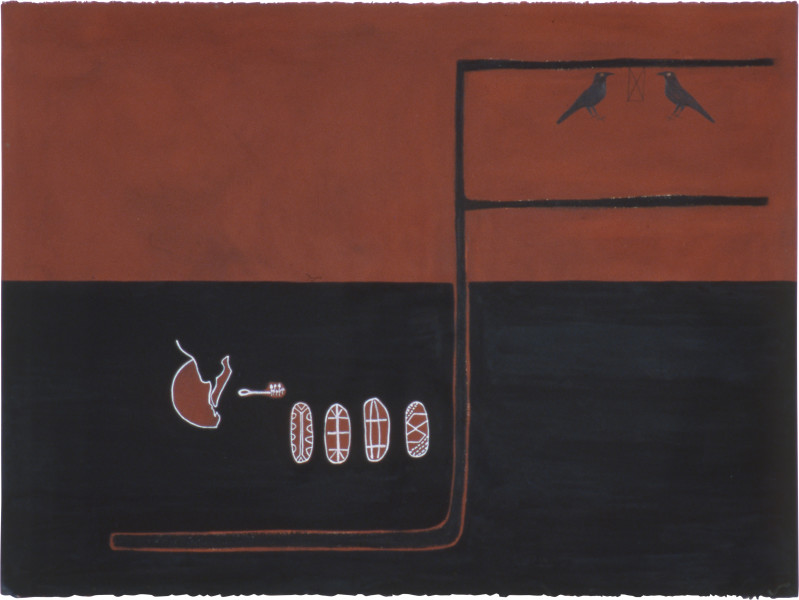 Fiona Foley Dora Ring & Fraser Island Shields, 1991; ink, pastel and pencil on paper; 57 x 76.5 cm; enquire