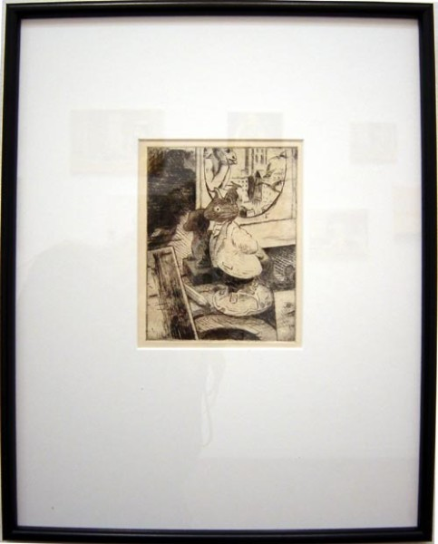 Linda Marrinon Still life with Lord Woodmouse and Meryon etching, 2003; drypoint etching; 39.8 x 32.1 cm; (framed), non-editioned; enquire