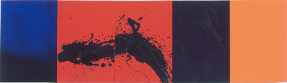Lindy Lee Four Elements, 1997; acrylic on board; 41 x 142.5 cm; 5 panels; enquire