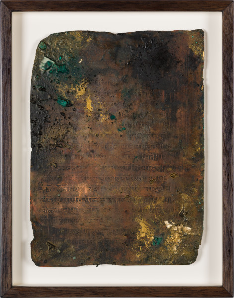 Kirtika Kain foglio III, 2019; natural oxidation, pigment, charcoal, gold leaf on copper; 28 x 22 cm; enquire