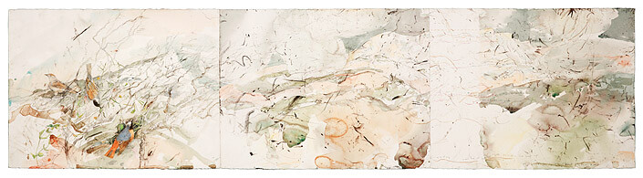 John Wolseley 2. The Redstart Sings - the Mountain Unfolds , 2008; found charcoal, graphite and watercolour on paper; 56.5 x 226 cm; enquire
