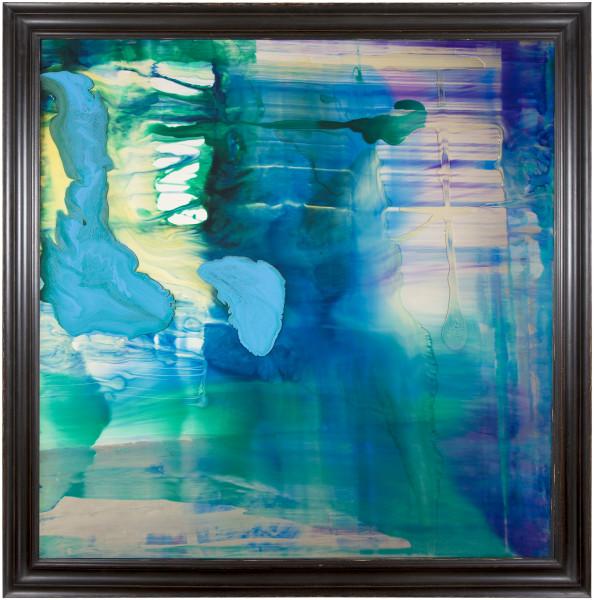 Dale Frank Yass 2, 2014; varnish on glass 4 mm ; 150 × 150cm (unframed), 170 x 170 cm (framed); enquire