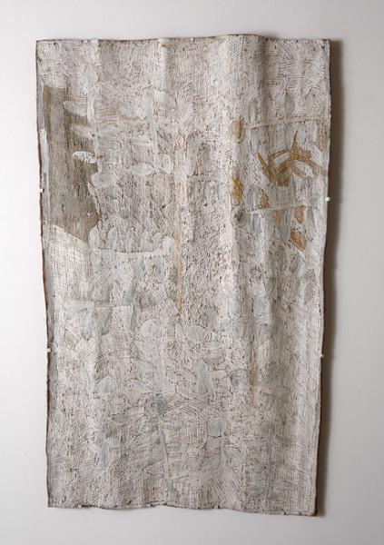 Nyapanyapa Yunupingu 6. Untitled, 2013; 4408T; natural earth pigments on bark; 157 x 94 cm; enquire