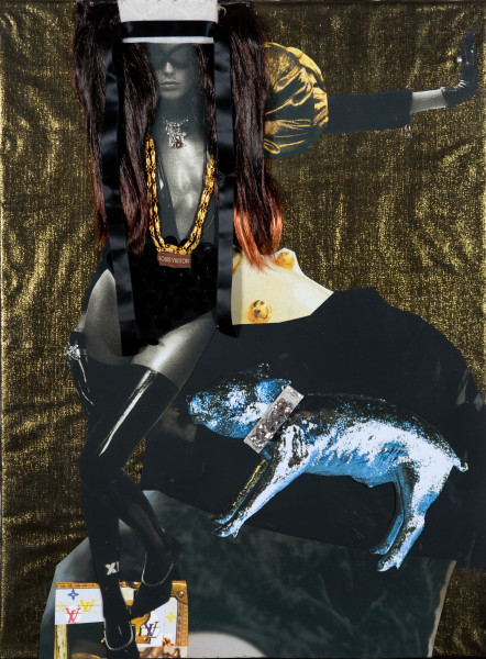 """Jacqueline Fraser 13. """"She's a vile Louis Vuitton Moet Hennessy art groupie, baby"""", 2008; She's a vile Louis Vuitton Moet Hennessy art groupie, baby; backlit photographs and mixed media; 101.5 x 76.5 x 10 cm;"""