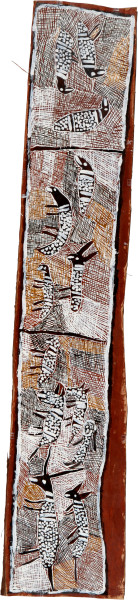 Nyapanyapa Yunupingu Gatapangawuy Dhawu 2, 2008; 3307Q; natural earth pigments on bark; 35 x 171 cm; enquire