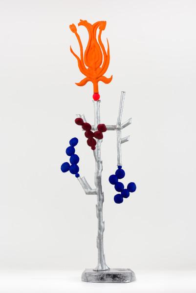 Caroline Rothwell Biomorph nasturtium, 2018; Hydrostone, canvas, epoxy glass, stainless steel, vinyl paint, wood; 172 x 58 x 42 cm; AUD 25,000.00; Enquire