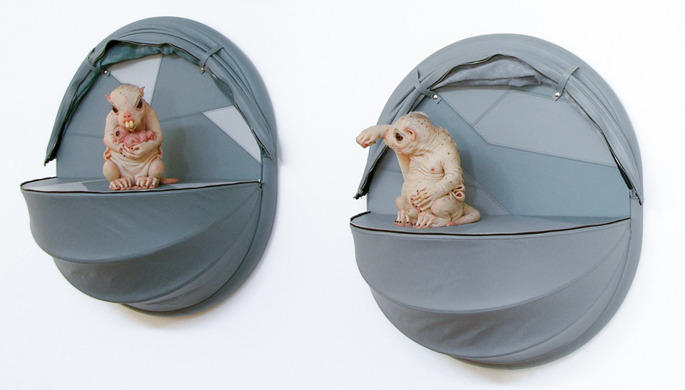 Patricia Piccinini Nature's Little Helpers—Progenitor (for the Leadbeater's Possum), 2005; silicon, fibreglass, leather, plywood, hair, 2 parts; 70 x 35 x 35 cm; Edition of 3 + AP 1; enquire