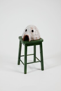 Nell Igloo, 2014-15; The Wake No. 26; from the series Adelaide Biennale 2016; stoneware, glaze, wooden stool; 68 x 35.5 x 32 cm; object : 18.7 x 34.3 x 27.3 cm stool : 48.7 x 35.5 x 31.3 cm; enquire