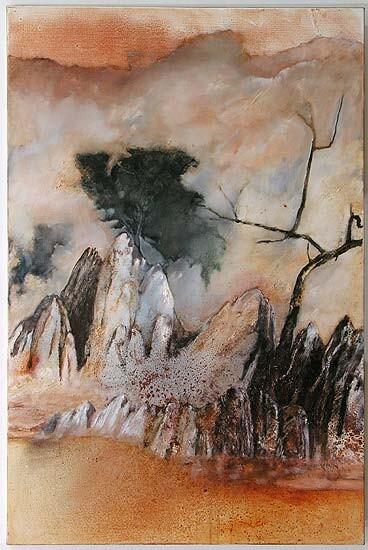 Mandy Martin Bonderoo Rocks and Japonism, 2006; oil, ochre, pigment on linen; 150 x 100 cm; enquire