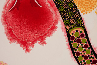 Kaylene Whiskey APY Sistas (detail), 2020; Acrylic on linen; 101 x 167 cm; enquire