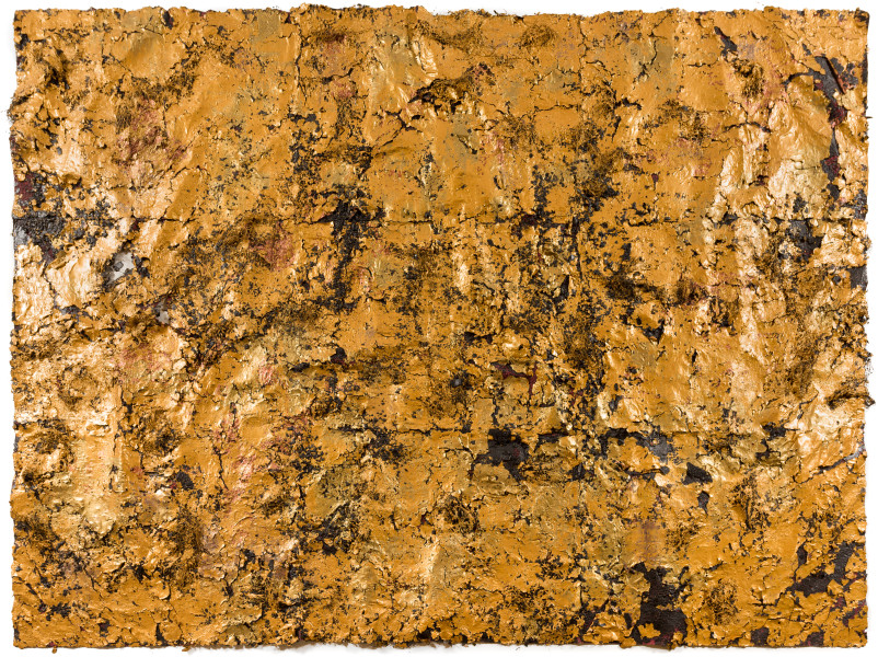 Kirtika Kain Her, 2019; gold paint, human hair, charcoal, wax, hand made paper; 169 x 226 cm; enquire