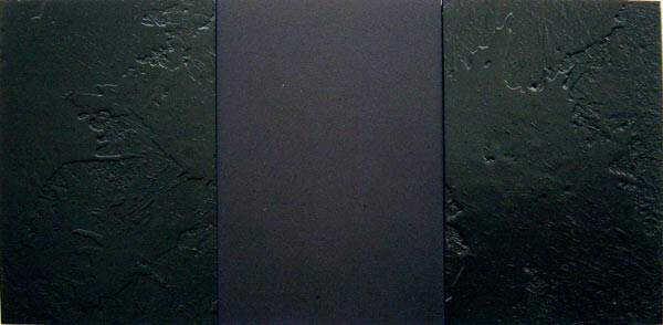 Lindy Lee The Darkening, 2002; from the series Ten Worlds, Ten Directions; inkjet print, oil, acrylic and wax on board; 40.5 x 88.5 cm; 3 panels; enquire
