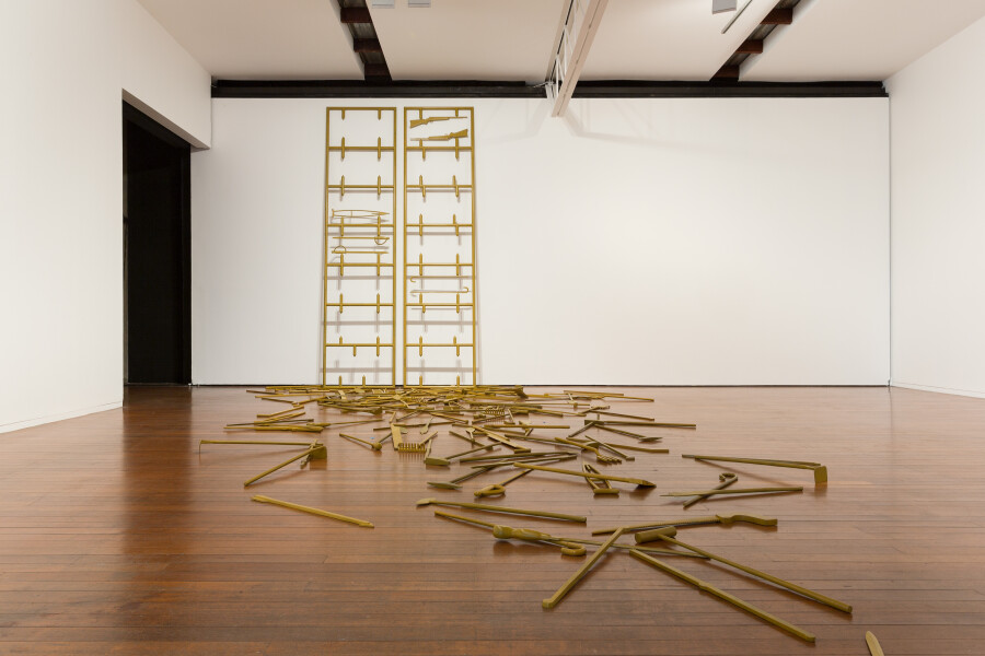 Michael Parekowhai Acts III, 2015; bronze; 164 pieces: 77.5 x 11 x 2cm each; 2 frames: 360 x 90 x 5cm. Installation dimensions variable; enquire