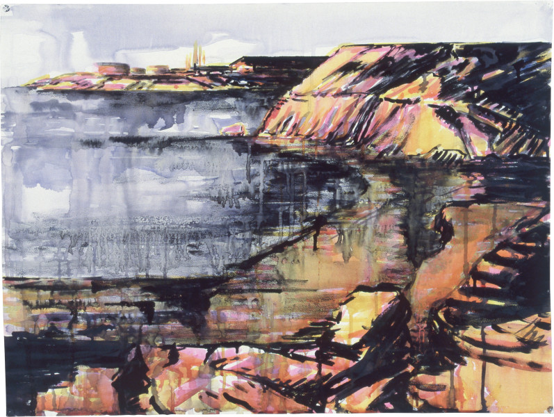 Mandy Martin Drawing for Time and Tide, 1985; pigment, enamel paint on arches paper; 56.5 x 75.6 cm; enquire