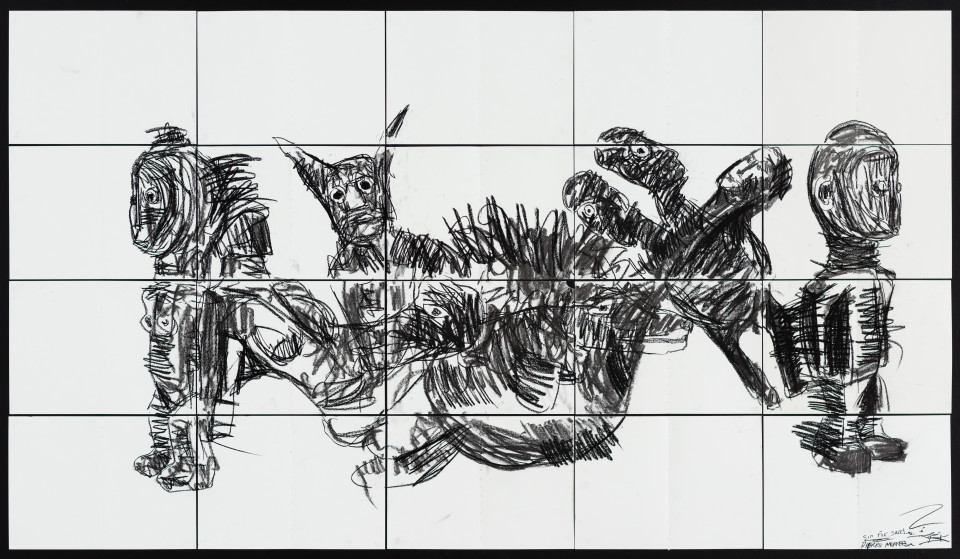 Pierre Mukeba Sin For Sale, 2021; charcoal on archival paper; 120 x 210 cm; enquire