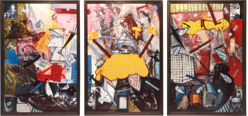 Gareth Sansom Middle age spread, 1981; mixed media on hardboard; Three panels: 183 x 122 cm each; enquire