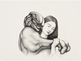 Patricia Piccinini Entwined Affection, 2020; graphite on paper; 57 x 76 cm; 72.5 x 91 cm (framed); enquire