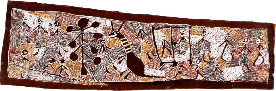 Nyapanyapa Yunupingu Gatapangawuy Dhawu 3, 2008; natural earth pigments on bark; 52 x 166 cm; enquire