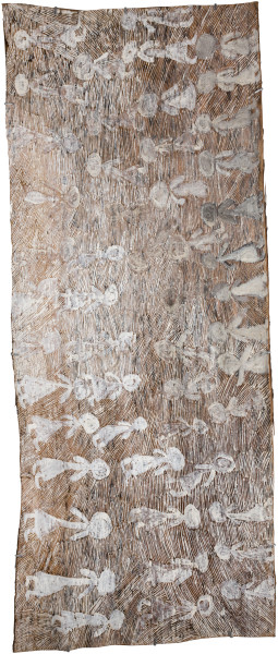 Nyapanyapa Yunupingu Circles, 2016; 621-16; natural earth pigments on bark; 162 x 61 cm; enquire