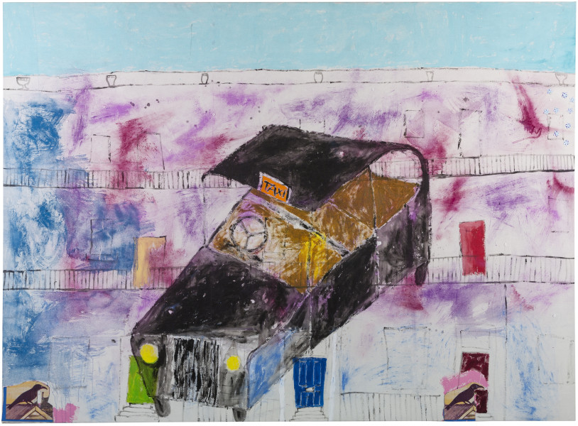 Jenny Watson A London taxi and a London terrace, 2018; oil, acrylic, Japanese pigments, haberdashery on rabbit skin glue primed Belgian linen; 198.5 x 271 cm; enquire