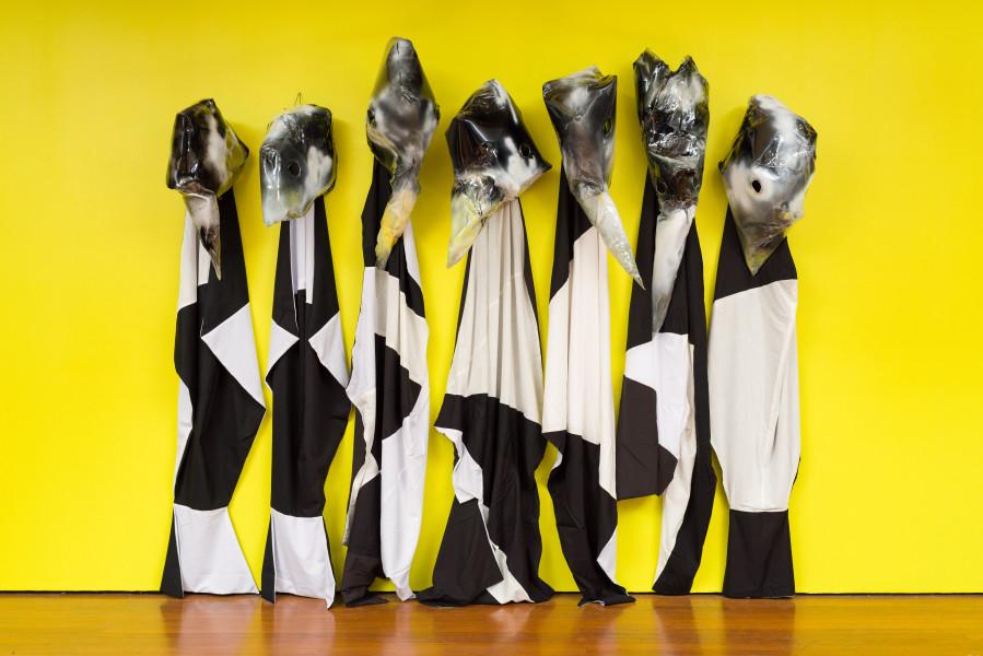 Mikala Dwyer The Nurses, 2020; plastic, acrylic paint, fabric; dimensions variable; enquire