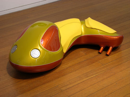 Patricia Piccinini Cyclepups: Colt, 2005; fibreglass, automotive paint, leather and stainless steel; 40 x 110 x 50 cm; enquire