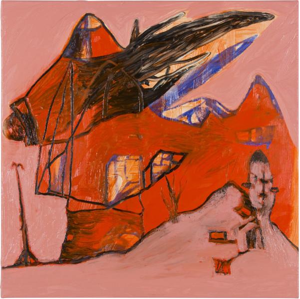 Gareth Sansom Red landscape, 2012; oil and enamel on linen; 60 x 60 cm; enquire