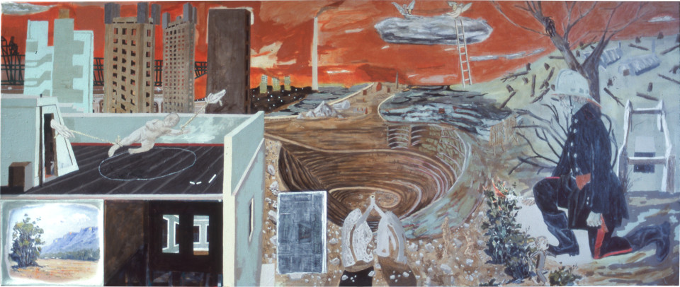 Geoff Lowe The Idea of Bad Government, 1983; acrylic on linen; 152 x 366 cm; enquire