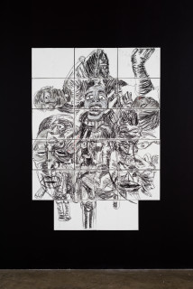installation view; Pierre Mukeba (Reflection Of The Soul), 2021; charcoal on archival paper; 180 x 126 cm; enquire