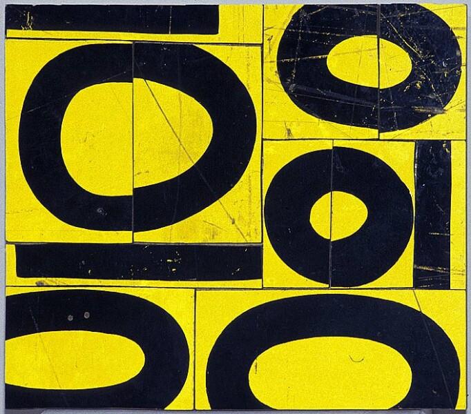 Rosalie Gascoigne Fishbowl, 1999; retro reflective roadsign on wood; 32 x 37 cm; enquire