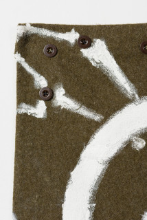 Fiona Hall EXODUST (II) (detail), 2020; oil paint on military garment; 158 x 115 cm; enquire