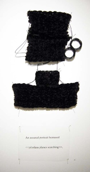 Jacqueline Fraser An assured portrait bemused >, 2003; from the series AN ELEGANT PORTRAIT REFINED IN ELEVEN STUDIOUS PARTS >; wire, chenille knit braid from Chelsea, N.Y.; 85 x 35 cm; enquire