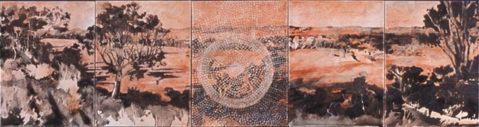 Mandy Martin & Trisha Carroll Inspirited Place, 2004; Pigments, ochre and acrylic on paper; 5 panels, each 40 x 30 cm. Overall dimensions 40 x 150 cm; enquire